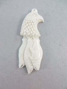 Eagle and fishes buffalo bone handcarved pendant