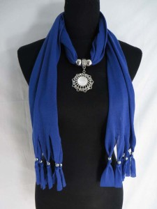 rhinestone crystal pendant charm scarf necklace, scarves with jewelry attached.