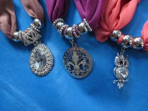 mixed designs pendant charm scarf necklace, scarves with jewelry attached.
