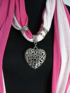 rose pendant charm scarf necklace, scarves with jewelry attached.