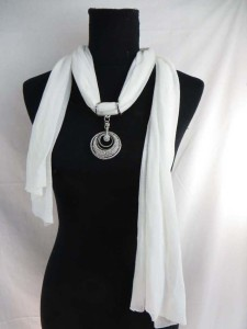 scarf with jewelry attached, pendant charm scarf necklace with mixed designs of pendants $3.45