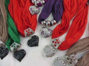 heart charm scarf with jewelry attached, pendant charm scarf necklace with mixed designs of pendants