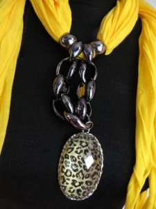 scarf with jewelry attached, pendant charm scarf necklace with mixed designs of pendants