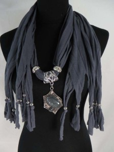 black, brown and grey scarves with jewelry attached, imitation gemstone pendant charm scarf necklace.
