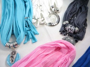 Imitation gemstone pendant charm scarf necklace, scarves with jewelry attached.
