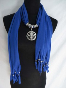 rhinestone crystal Fleur de Lis flower of the lily pendant charm scarf necklace, scarves with jewelry attached