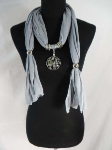 handcrafted glass pendant charm scarf necklace, scarves with jewelry attached