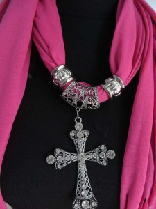 cross pendant charm scarf necklace, scarves with jewelry attached.