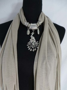peacock pendant charm scarf necklace, scarves with jewelry attached