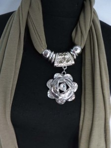 rose pendant charm scarf necklace, scarves with jewelry attached