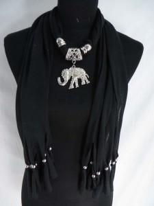 trunk up good luck good Feng Shui elephant pendant charm scarf necklace, scarves with jewelry attached.