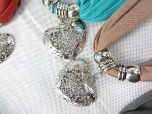 crystal rhinestone heart love pendant charm scarf necklace, scarves with jewelry attached.