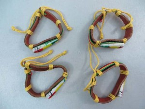 Long triangle rasta imitation leather bracelets wristband