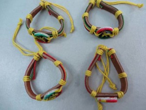 peace sign rasta imitation leather bracelets wristband
