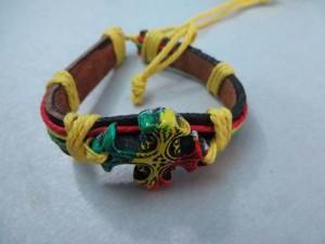 cross rasta imitation leather bracelets wristband