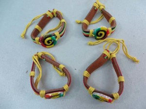 swirl rasta imitation leather bracelets wristband