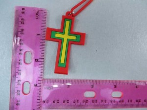 rubber rasta cross necklace