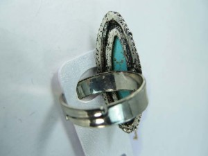 vintage style turquoise ring, open back adjstable size