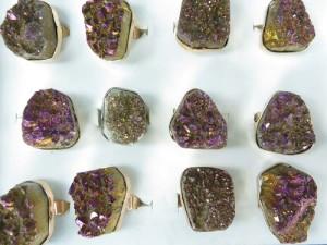 genuine gemstone chunky fashion ring