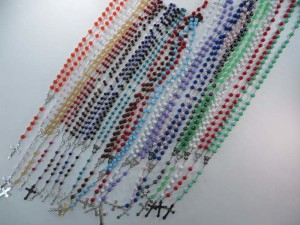 unisex jewelry rosary necklace with acrylic beads chain