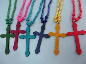 unisex jewelry cross wood pendant rosary necklace with wood beads chain in bright colors