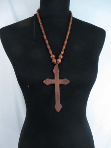 unisex jewelry cross wood pendant rosary necklace with wood beads chain in brown black colors