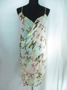 silky chiffon spaghetti strap open back sarong with gold trim edge, backless beach wrap dress
