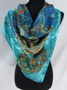 vintage wheels retro boho satin square scarves shawl wrap stole.