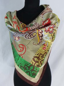 vintage paisley retro boho satin square scarves shawl wrap stole