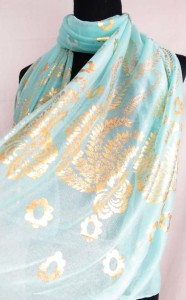 gold feather flower print fashion scarves shawl wrap stole