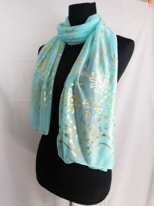 gold flower leaf print fashion scarves shawl wrap stole