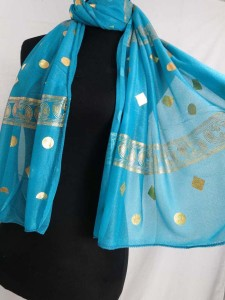 gold geomatric print fashion scarves shawl wrap stole