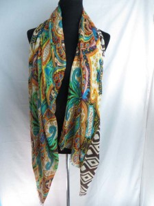 double sided retro boho print long scarf shawl reversible fall and winter wrap stole