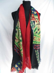 Southwestern print long scarf shawl, reversible fall and winter wrap stole