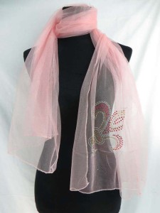 acrylic rhinestone daylily lightweight sheer scarf wrap