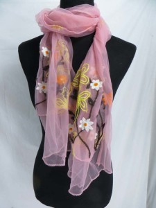 double layer textured flowers sheer scarf wrap shawls