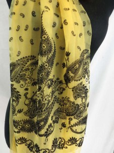 double layers retro paisley lightweight sheer scarf wrap