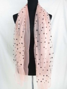 double layers polka dots stars lightweight sheer scarf wrap
