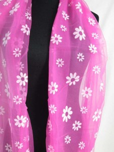 double layers daisy flower lightweight sheer scarf wrap