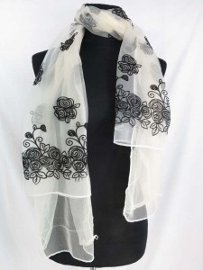 double layers garden flower lightweight sheer scarf wrap