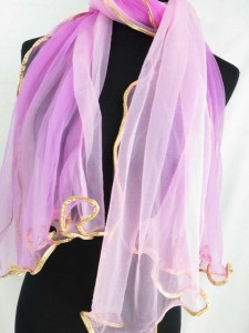 plain color two tones lightweight sheer scarf wrap with gold edges
