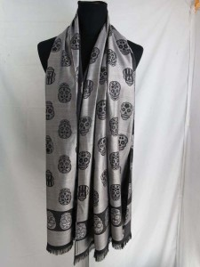 double sided skull skeleton long scarf shawl, reversible fall and winter wrap stole