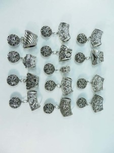 3D filigree hollow cutout round scarf pendant bail slide set