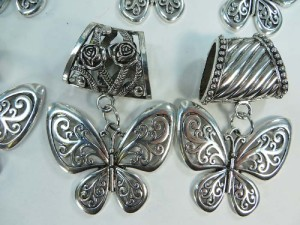 butterfly scarf pendant bail slide set