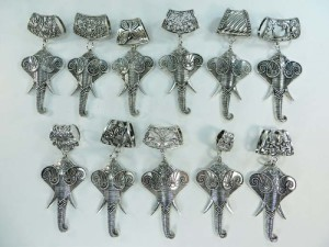lucky elephant scarf pendant bail slide set