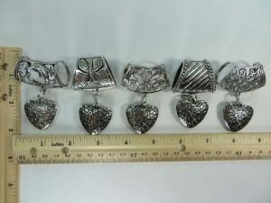 love heart scarf pendant bail slide set