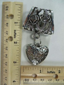 love heart scarf pendant bail slide set