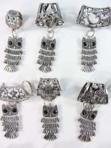 owl scarf pendant bail slide set
