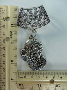 snake skull head scarf pendant bail slide set