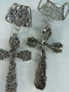 gothic cross scarf pendant bail slide set